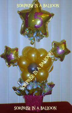 15 AñOS CENTERPIECE WITH BALLOONS BY SORPRISE IN A BALLOON