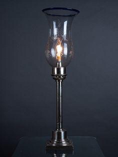 Antique table lamp featuring Hurricane shade Antique Table Lamps, Silver Table Lamps, Antique Lighting, Art Deco Lighting, Art Nouveau, Light Bulb, Sconces, Restoration, Chandelier