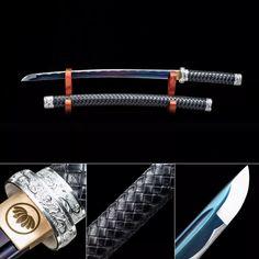Handmade High Manganese Steel Rainbow Blade Real Japanese Wakizashi Sword With Black Scabbard - TrueKatana Katana Swords, Samurai Swords, Knives And Swords, Bloodborne Concept Art, Hero Poster, Cool Swords, Ghost Of Tsushima, Ninja Weapons, Gold Dragon