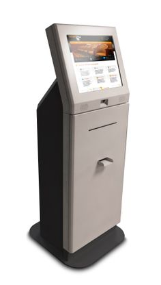 The URway TransAct maxi modular kiosk platform w/ bar code scanner, full page thermal printer and cash dispenser. A very flexible and expandable kiosk platform! Thermal Printer, Kiosk, Filing Cabinet, Flexibility, Platform, Coding, Bar, Storage, Purse Storage