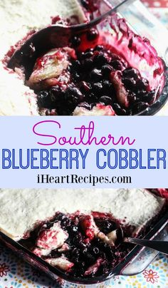 How to make amazing homemade blueberry cobbler with frozen blueberries… This is seriously the best southern blueberry cobbler recipe. Hey y'all! Who's ready for a southern … Blueberry Pie Recipes, Blueberry Desserts, Blackberry Cobbler, Blackberry Dumplings, Blueberry Crunch, Blueberry Bread, Banana Bread, Southern Desserts, Recipes
