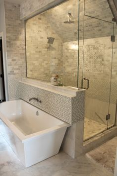 * Love this style shower. Maybe use the clear glass blocks in place of the glass side wall.   The Fat Hydrangea: Parade of Homes - House #2
