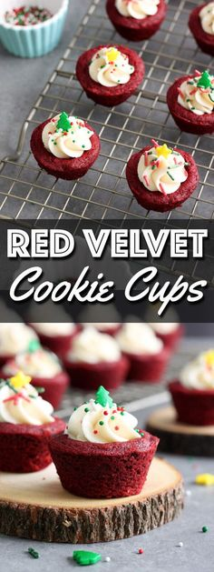 These cute little Red Velvet Cookie Cups are filled with luscious cream cheese frosting and decorated with festive Christmas sprinkles. | wildwildwhisk.com