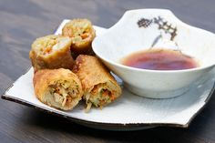 Chicken Eggrolls:  make vegetarian by only using green onions, cabbage, carrots, and bean sprouts!  Can also replace chicken with firm tofu.