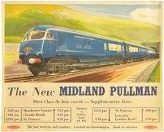 Midland Pullman poster Wolstenholme British Railways poster blue train