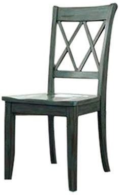 Ashley Furniture Signature Design Mestler Dining Room Side Chair, Antique Blue, Set of 2, Regular, Wood Seat
