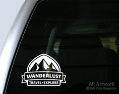 Wanderlust Cool Mountain Banner Traveling Or Hiking Car Decal - Decals for trucks customizednailed it plumbers custom car decal that makes him look like