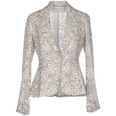Dior Blazer (£967) ❤ liked on Polyvore featuring outerwear, jackets, blazers, light grey, long sleeve lace jacket, christian dior jacket, long sleeve jacket, single breasted jacket and lace jacket