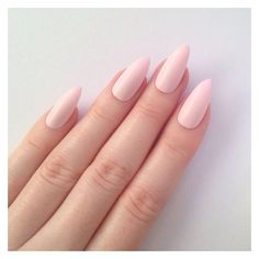 Stiletto nails, Matte pastel pink stiletto nails, Fake nails, Press on... ❤ liked on Polyvore featuring beauty products, nail care and nail treatments