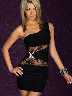 Hot Sale Single Shoulder Perspective Waist Dress on BuyTrends.com