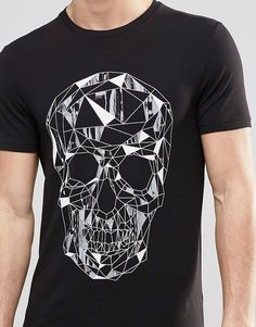 Buy ASOS Muscle T-Shirt With Geometric Skull Print at ASOS. Get the latest trends with ASOS now. Mens Tee Shirts, Boys T Shirts, Cool Shirts, New T Shirt Design, Shirt Designs, Casual Wear For Men, Muscle T Shirts, Skull Print, Shirt Style