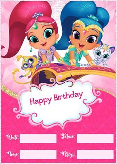 Shimmer And Shine Birthday Party Invitation Template 214x300