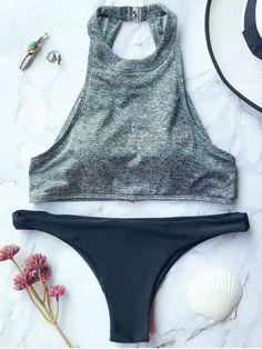 Alto cuello acolchado Bikini de la correa - Gris S