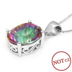 Hot Sale 3.5ct Genuine Rainbow Fire Mystic Topaz Concave Oval Pendant Only $25.99 => Save up to 60% and Free Shipping => Order Now! #Bracelets #Mystic Topaz #Earrings #Clip Earrings #Emerald #Necklaces #Rings #Stud Earrings