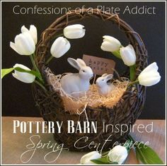 Pottery Barn Inspired Simple Spring Centerpiece - CONFESSIONS OF A PLATE ADDICT