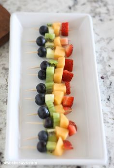 Mini Fruit Kabobs – Great Use of Summer Produce! (she: Liz) – Chris Carlton Mini Fruit Kabobs – Great Use of Summer Produce! (she: Liz) Mini Fruit Kabobs – Fun and Delicious Use of Summer Fruit! (she: Liz) Fruit Appetizers, Appetizers For Kids, Toothpick Appetizers, New Fruit, Summer Fruit, Fruit Fruit, Fruit Salads, Fruit Snacks, Kids Party Finger Foods