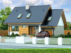 Projekt domu Lisandra XS 107,24 m2 - koszt budowy - EXTRADOM Home Fashion, Bungalow, House Plans, Shed, Outdoor Structures, Exterior, House Design, Cabin, House Styles