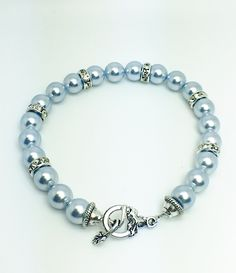 Light blue Swarovski pearl bracelet