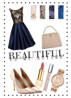 """""""Classy night"""" by andreea-pug ❤ liked on Polyvore featuring MAC Cosmetics, Chi Chi, Charles David, Michael Kors, Tory Burch and Louis Vuitton"""