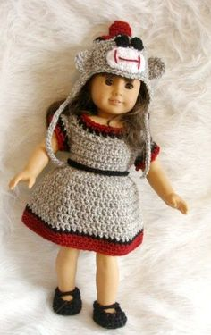 American Girl sock monkey crochet pattern Another surprisingly easy pattern that can be easilly modified to use #3 yarn and look nicer without copyright violation-I think. The idea may be copyrighted. Cute idea.