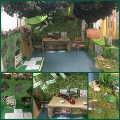 Down in the jungle - jungle role play, animal prints, writing area and under table maths animal discovery for reception class children.