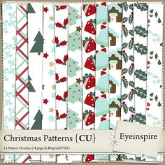 Set of 12 christmasy patterns to aid you in your digital scrapbooking kit designs!