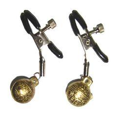 (2 pcs/ensemble) Cloche en métal pinces à seins, pas cher en acier sexy du sein mamelon pinces clips avec 2 cloches adulte jeu de sexe jouets pour les femmes