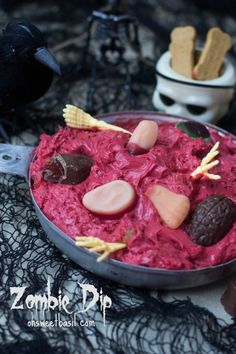 Zombie {Red Velvet} Dip Recipe ~ with chunks of chocolate chip cookies... so yummy, especially if you love red velvet.