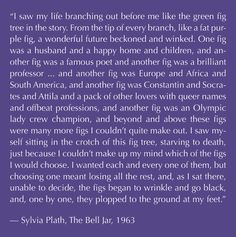 the famous fig tree quote from The Bell Jar by Sylvia Plath