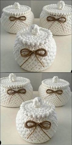 Stylish crochet storage jars crochet jars storage stylish quick and easy crochet hair clips a free tutorial Crochet Bowl, Crochet Basket Pattern, Cute Crochet, Crochet Patterns, Sewing Patterns, Diy Crafts Crochet, Crochet Gifts, Crochet Projects, Crochet Christmas Wreath