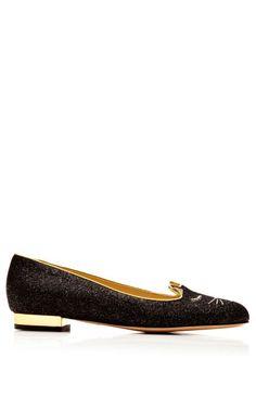 1e8ba6f78f Shop Sleeping Kitty Metallic Suede Slippers by Charlotte Olympia Now  Available on Moda Operandi Sapatos Flats