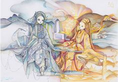 Sketch Inspiration, Beautiful Sunset, Chinese Art, Traditional Art, Art Girl, Watercolor Art, Art Gallery, Artsy, Sketches