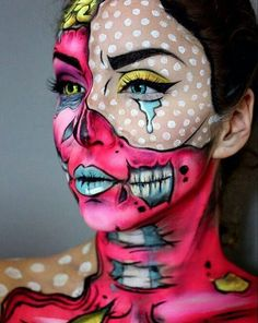 Lots of inspiration, diy & makeup tutorials and all accessories you need to create your own DIY Pop Art Zombie Costume for Halloween. Zombie Make Up, Pop Art Zombie, Art Halloween, Zombie Halloween Costumes, Halloween Looks, Halloween Face Makeup, Creepy Makeup, Halloween Night, Happy Halloween
