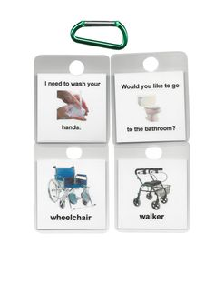 The Communication Key Chains are a set of 42 laminated visual communication cards which are put on a key chain / carabinere for family, care givers, therapists and medical staff to be able to communicate with their loved ones, clients and/or patients. They attach to a person`s belt loop. They have words with matching pictures so the person with communication needs will recognize and understand the pictures more readily than just the words or spoken words. The cards can be used over and over.