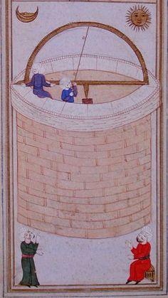 Azimuthal semicircle (dhāt al-samt wa'l-irtifā') of Taqī al-Dīn. Source: Al-Ālāt al-rasadiya li-zīj al-shāhinshāhiyya, Library of the Topkapi Palace Museum, Hazine fol. Islamic World, Islamic Art, Islam And Science, Tycho Brahe, History Of Time, Islamic Calligraphy, Illustrations, Middle Ages, Science And Technology