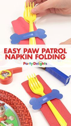 """Add a """"paw-some"""" touch to your Paw Patrol party decorations with this easy napkin folding idea. It takes minutes and free printables are included! Bolo Do Paw Patrol, Cumple Paw Patrol, Paw Patrol Cake, Puppy Birthday, Boy Birthday, Card Birthday, Birthday Ideas, Happy Birthday Funny, Happy Birthday Greetings"""
