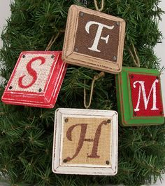 Burlap Christmas Ornament monogram Letter Initial brown Rustic Distressed Tree Holiday Decoration on Etsy, $15.00