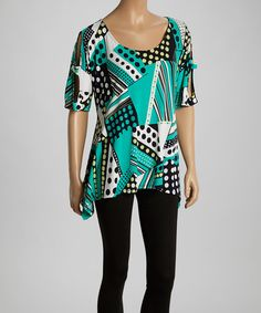 Love this Teal & White Abstract Sidetail Top by Come N See on #zulily! #zulilyfinds