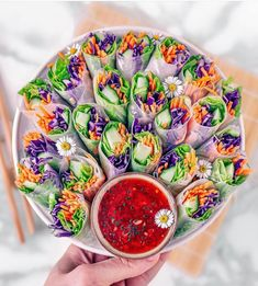 """Healthy foods made fun 💃 on Instagram: """"RAW SPRING ROLLS with spicy sweet & sour dipping sauce 🤩 YAY or NAY? 😍  From super-talented @ jordypoggi 🙌🙌 Visit his feed for more…"""" Healthy Foods, Healthy Recipes, Spring Rolls, Raw Vegan, Fresh Rolls, Spicy, Cooking, Ethnic Recipes, Sweet"""