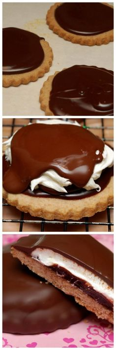 MOON PIES- *I'm going to try gluten free (3 ingred.) peanut butter cookies as base.* :-)