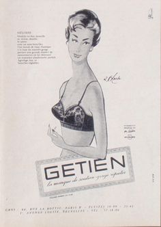 Publicité Advertising Getien Soutien Gorge 1956 RÉF 7744 | eBay