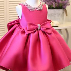Shop Fuchsia Satin Formal Flower Girl Dress With Bling Big Bows online. Super cute styles with couture high quality. Cheap Flower Girl Dresses, Little Dresses, Little Girl Dresses, Cute Dresses, Girls Dresses, Baby Birthday Dress, Baby Dress, Baby Girl Dress Design, Fuchsia Dress