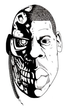 black and white hand drawn illustration in ink with black block shading by lokhaan of jay-z as an android cyborg robot