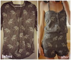 Trash To Couture: Mens shirt sewn playsuit.  One of my favorite summer refashions