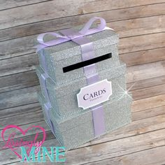 Card Box |  3 Tier Fine Silver Glitter, Silver Rhinestones & Lavender Satin Ribbon | Gift Money Box for Any Event | Additional Colors Avail by LovinglyMine on Etsy