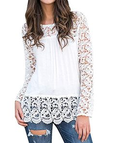 StyleDome Women's Tops Blouse T Shirt Crochet Floral Long Sleeve Round Neck Loose Tee Off White M Spring Outfits Women Casual, Spring Work Outfits, Spring Fashion Outfits, Capsule Outfits, Fashion Brands, Fashion Fashion, Blouses For Women, Long Sleeve, Clothes
