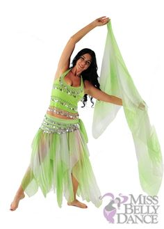 Belly Dance Chiffon Skirt-Top-Veil & Hip Scarf Costume Set | Petaled Spin