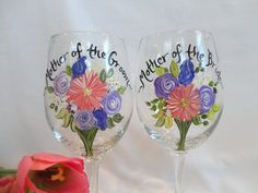 Mother of the Bride & Groom Glasses - Personalized to your wedding flowers, $24 ea. {www.samdesigns.net}