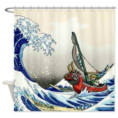 CafePress Custom Shower Curtain I Had To Upload This Wind Waker Picture In Pieces And Stitch It Together Make A Whole Scene Windwaker Zelda