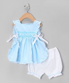Take a look at this Aqua & White Pinafore Dress & Bloomers - Infant on zulily today!